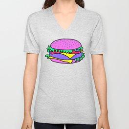 Psychedelic burger / Blue Grid Unisex V-Neck