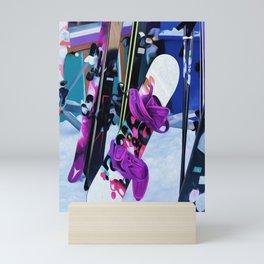 Snow Time - Snowboards and Skis Mini Art Print