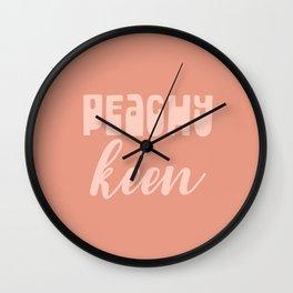 Peachy Keen Positive Peach Typography Wall Clock