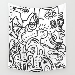 Soul Power Black and White Graffiti Street Art  Wall Tapestry