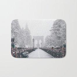 New York City and Brooklyn Bridge Winter/Christmas Bath Mat