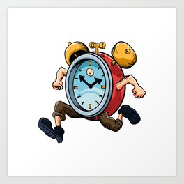 Clock Man Running Art Print