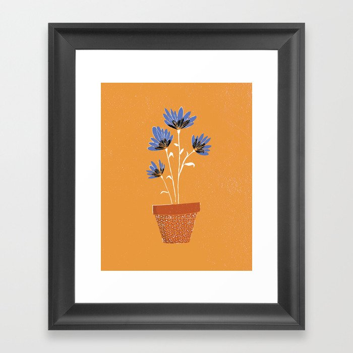 blue flowers on orange background Gerahmter Kunstdruck