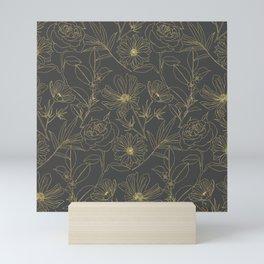 Simple garden flowers gold outlines design Mini Art Print