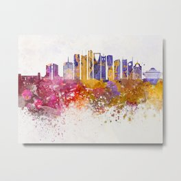 Dubai V2 skyline in watercolor background Metal Print
