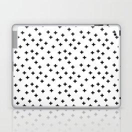 Black hand drawn pluses pattern on white Laptop & iPad Skin