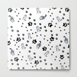 Hand painted watercolor black white dog paw's pattern Metal Print