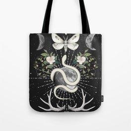 Full Moon Magic On Black Tote Bag