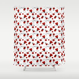 Red Ladybug Floral Pattern Shower Curtain