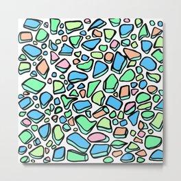 Sea Glass - Blues Aqua Green on White Metal Print