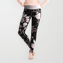 Blush pink white black rustic abstract floral illustration Leggings