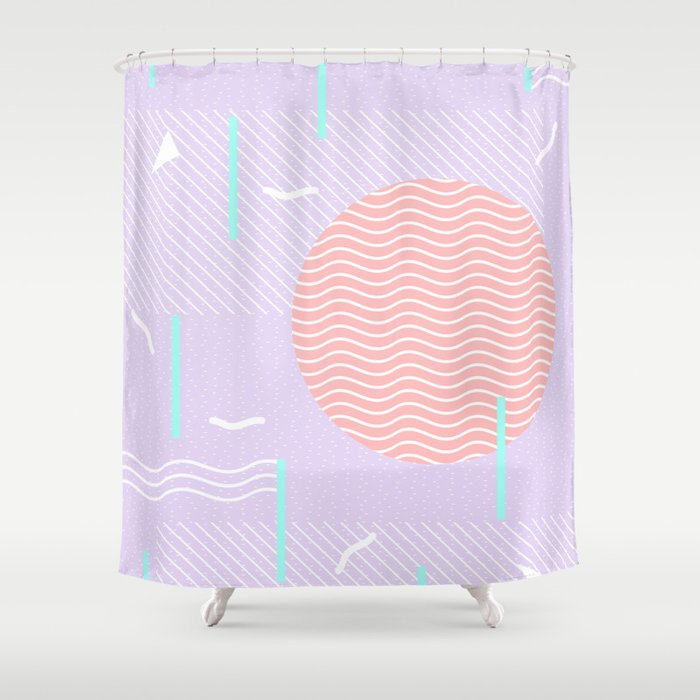 Memphis Summer Lavender Waves Shower Curtain