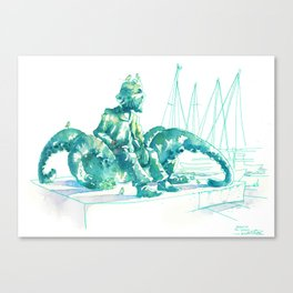 Julio Verne Statue Canvas Print