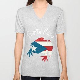 Puerto Rico Frog Coqui Flag Boriqua Gift Island Taino Wepa  Unisex V-Neck