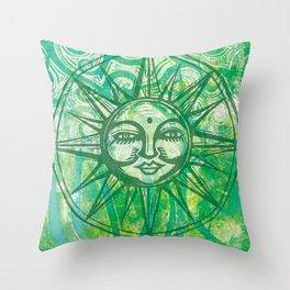 Sun Face - MonoPrint Throw Pillow