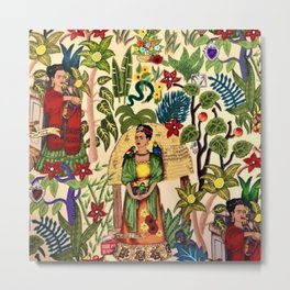 Coyoacán Mexican Garden of Casa Azul Lush Tropical Greenery Floral Landscape Painting Metal Print