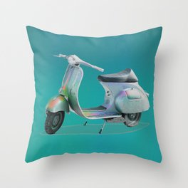 Holographic Retro Scooter Throw Pillow