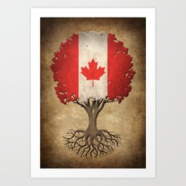 Vintage Tree of Life with Flag of Canada Art Print
