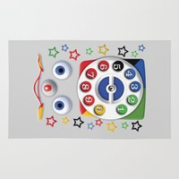 cartoons Area & Throw Rugs featuring Retro Vintage smiley kids Toys Dial Phone iPhone 4 4s 5 5s 5c, ipod, ipad, pillow case and tshirt by Three Second