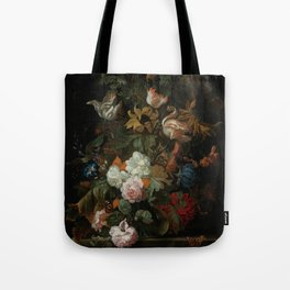 """Ernest Stuven """"Still life of flowers in a glass vase with a butterfly on a ledge"""" Tote Bag"""