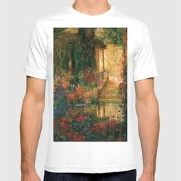 Garden of Enchantment from Parsifal red flowers and roses floral portrait painting  by Thomas Mostyn T-shirt