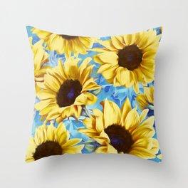 Dreamy Sunflowers on Blue Throw Pillow
