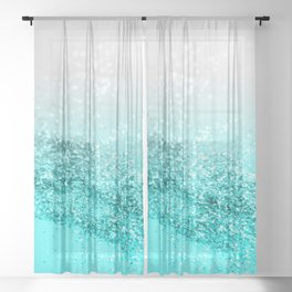 Silver Gray Aqua Teal Ocean Glitter #1 #shiny #decor #art #society6 Sheer Curtain