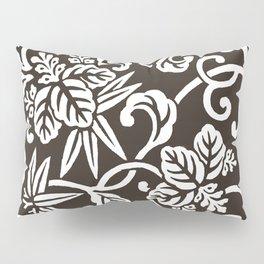 Espresso Brown Japanese Leaf Pattern Pillow Sham