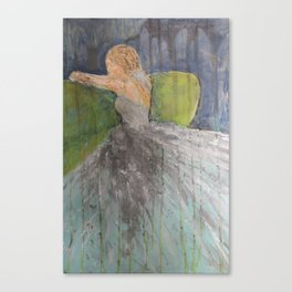 Green Couch Bride Canvas Print