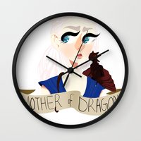 mother of dragons Wall Clocks featuring Mother of Dragons by hellokittyloli