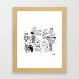 Pug meet up Framed Art Print
