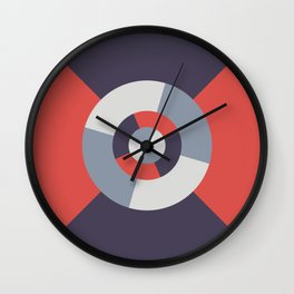 Simple geometric discs pattern red and silver Wall Clock