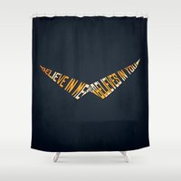 gurren lagann Shower Curtains featuring Believe In Me Who Believes In You by 5eth
