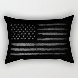 Grey Grunge American flag Rectangular Pillow