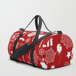 Red and white Christmas elements pattern Duffle Bag