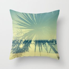 Double Exposure Porthminster Beach,St. Ives, Cornwall Throw Pillow