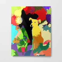 Dog with Abstract Background Metal Print