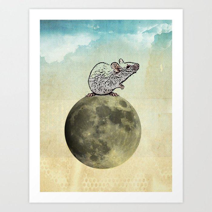 Tiny and the Cheese Moon Art Print