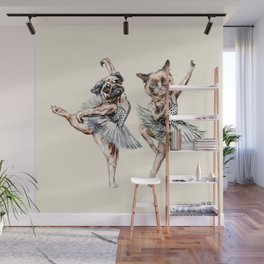 Hipster Ballerinas - Dog Cat Dancers Wall Mural