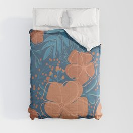 Tropical Flowers and Leaves Botanical in Terracotta Burnt Orange and Turquoise Teal Blue Comforters