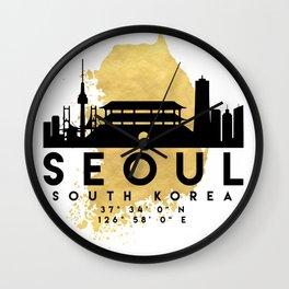 SEOUL SOUTH KOREA SILHOUETTE SKYLINE MAP ART Wall Clock