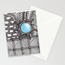 Turquoise Jeweled Tangle Art Stationery Cards