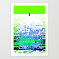 Sailboat and Swimmer (2b) Art Print