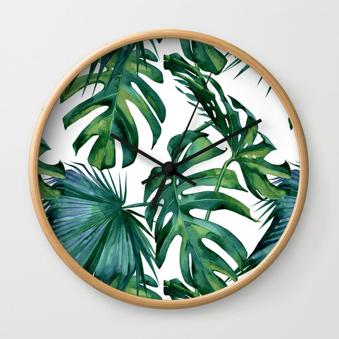 Classic Palm Leaves Tropical Jungle Green Wall Clock