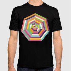 Heptagon Quilt 1 MEDIUM Mens Fitted Tee Black