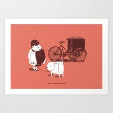 Mrs. Cubebrick & dog  Art Print