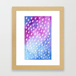 White Dots on Blue and Violet Ombre Watercolor Framed Art Print