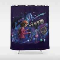 astronomy Shower Curtains featuring Muse of Astronomy by Jessica Chrysler