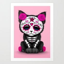 Cute Pink Day of the Dead Kitten Cat Art Print