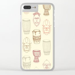 African drums and masks Clear iPhone Case